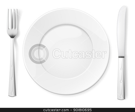 Empty plate with knife and fork stock photo, Empty plate with knife and fork. Illustration for design on white background by dvarg