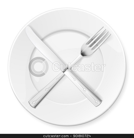 Fork, Knife and plate  stock photo, Fork, Knife and plate isolated on white background by dvarg