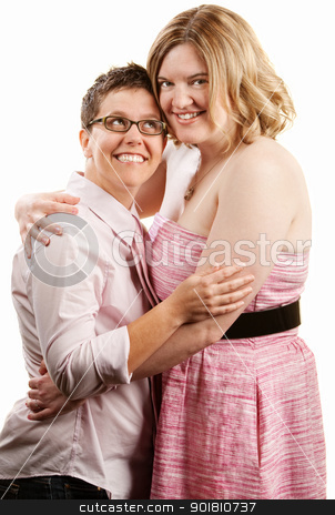 Woman Looks Up to Girlfriend stock photo, Happy lady looks up to her female companion by Scott Griessel