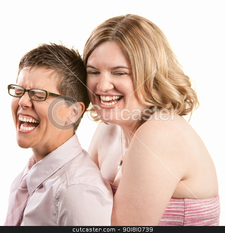Two Friends Laughing stock photo, Two European friends laughing together over white background by Scott Griessel
