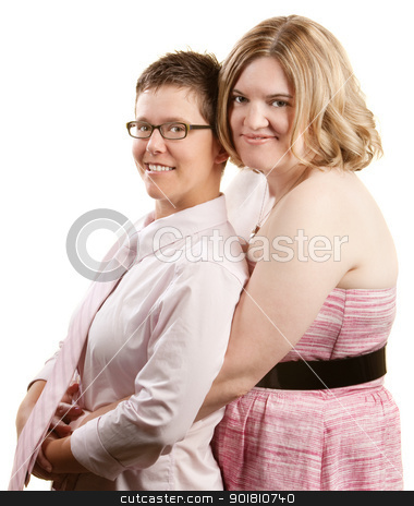 Lady Holding Lover From Behind stock photo, Caucasian lesbian couple embracing over white background by Scott Griessel