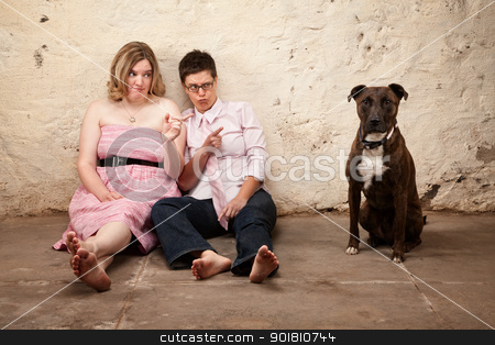 Ladies Blame a Dog stock photo, Two skeptical women pointing at a dog on leash by Scott Griessel