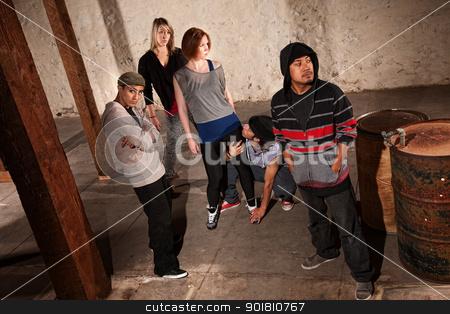Modern Dance Crew stock photo, Modern Racially Mixed Dance Crew Posing by Scott Griessel