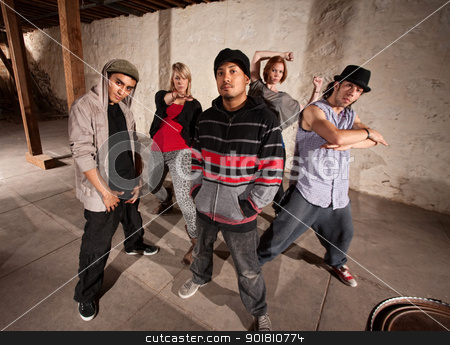 Five Cool Break Dancers stock photo, Five cool hip hop dancers strike a pose by Scott Griessel