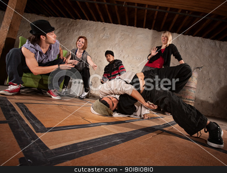 Urban Dancers Practicing stock photo, Crew of break dancers in underground setting by Scott Griessel