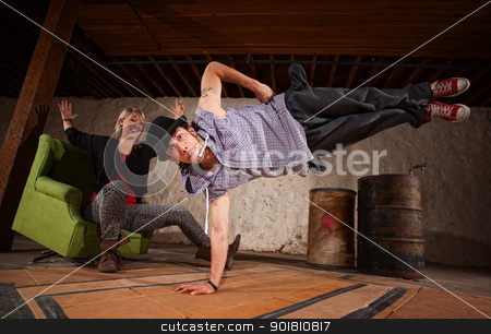 Hip Hop Dancer in Mid Air stock photo, Arab freestyle break dancer in mid air by Scott Griessel