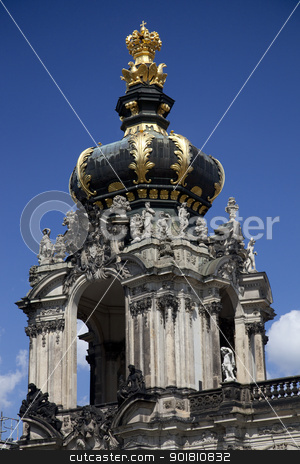 The Kronentor at the Zwinger Palace in Dresden stock photo, The Kronentor in the Zwinger is topped by the Polish crowne borne by four eagles. by Chris Dorney