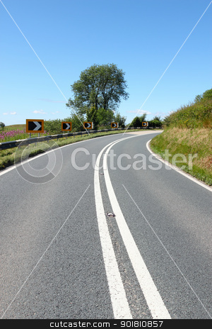 Tight bend on the Radnor forest road in Wales UK. stock photo, Tight bend on the Radnor forest road in Wales UK. by Stephen Rees