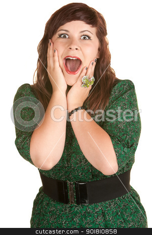 Lady With Hands on Cheeks stock photo, Excited Caucasian lady with hands on her cheeks by Scott Griessel