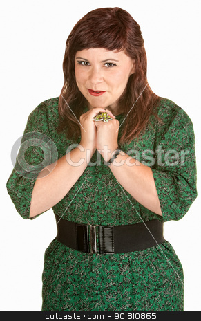 Hopeful Woman stock photo, Hopeful young European female in green dress by Scott Griessel