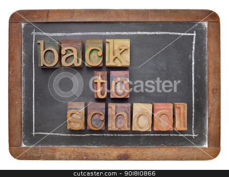 back to school concept stock photo, back to school concept - text in vintage letterpress wood type on a slate blackboard by Marek Uliasz