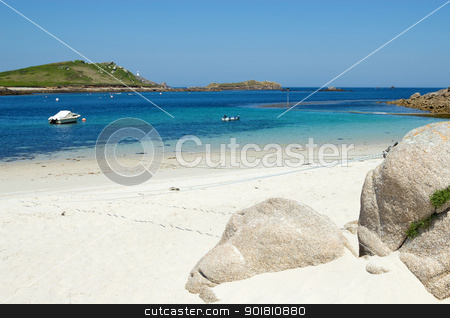 St. Martin's Lower Town beach and quay, Isles of Scilly. stock photo, St. Martin's Lower Town beach and quay, Isles of Scilly. by Stephen Rees