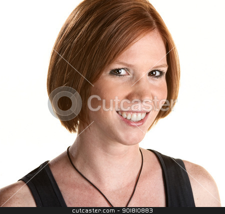 Smiling Young Woman stock photo, Cute red head portrait close up over white by Scott Griessel