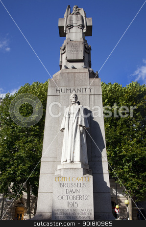 Edith Cavell Statue in London. stock photo, A Statue/Monument for famous British Nurse Edith Cavell who died during the 1st World War. by Chris Dorney