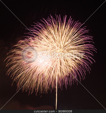 Fireworks in dark sky ready for isolation stock photo, Fireworks in a dark sky separated from city and ready to isolate for use in other images by Steven Heap