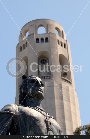 Coit Tower Statue Columbus stock photo, Coit Tower in San Francisco with the statue of Columbus in the front. by Henrik Lehnerer