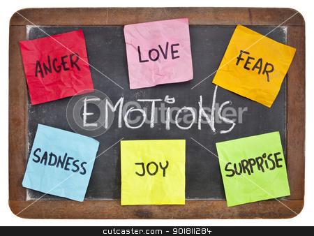 love, fear, joy, anger, surprise and sadness  stock photo, six basic emotions - love, fear, joy, anger, surprise and sadness - sticky notes on a vintage slate blackboard by Marek Uliasz