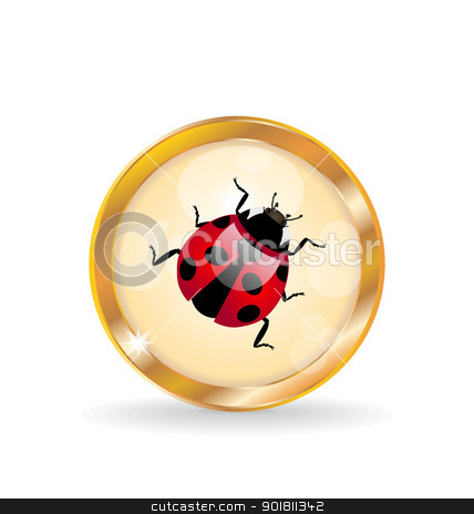Golden circle label (button) with ladybug stock vector clipart, Illustration golden circle label (button) with ladybug - vector by -=Mad Dog=-