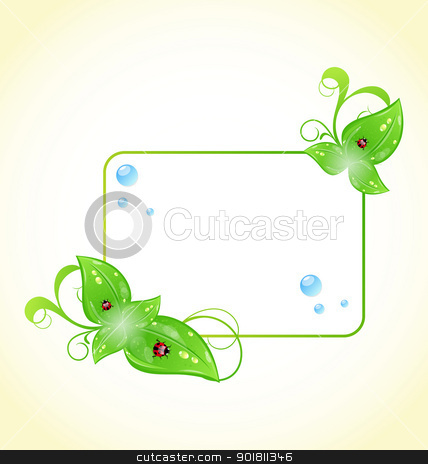 Eco friendly frame with green leaves and ladybugs stock vector clipart, Illustration eco friendly frame with green leaves and ladybugs - vector by -=Mad Dog=-