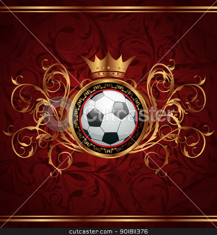 Football background with a gold crown stock vector clipart, Illustration football background with a gold crown - vector by -=Mad Dog=-