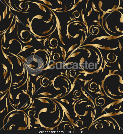 Golden seamless floral background, pattern for continuous replic stock vector clipart, Illustration golden seamless floral background, pattern for continuous replicate - vector by -=Mad Dog=-