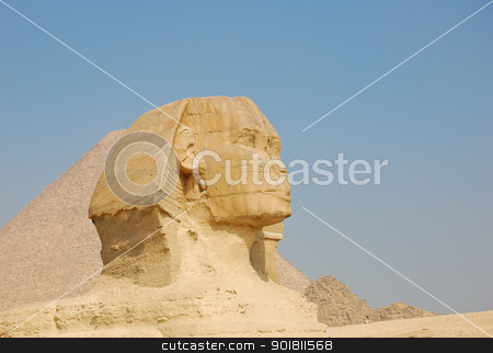 Sphinx  stock photo, Sphinx and Pyramid of Giza, Egypt by boonsom