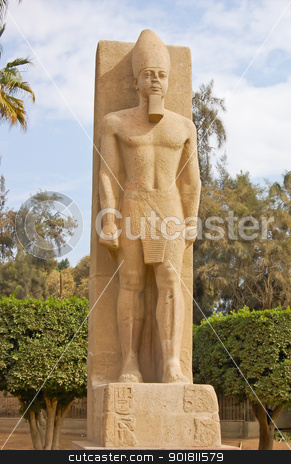 Standing Ramses II statue stock photo, Standing statue of Ramses II in open air museum of Memphis, Egypt by boonsom