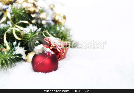 Christmas composition stock photo, Christmas composition with christmas ball by klenova