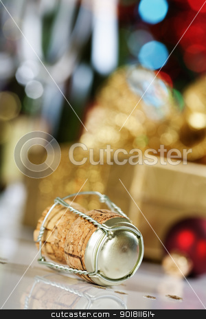 champagne cork stock photo, champagne cork on Christmas tree background by klenova