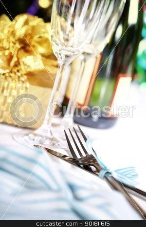 place setting stock photo, place setting on Christmas tree background by klenova