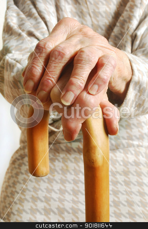 Old Ladys hands with walking stick - My mother at 90 years old  stock photo, Old Ladys hands with walking stick - My mother at 90 years old with arthritic hands by Fenton