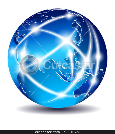 Communication World, Global Commerce - China, Far East - EPS 10 stock vector clipart, The map was traced manually using the pen tool for maximum detail. The base map is from NASA. All elements are on individual layers in the vector file for easy use. by Fenton