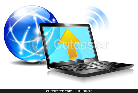 Upload to the internet cloud Icon - Laptop global stock vector clipart, Upload from a laptop computer to the internet cloud computing by Fenton