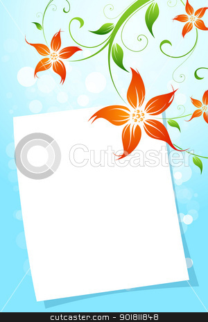 Flower background stock vector clipart, Flower Background with Blank Letter by Vadym Nechyporenko