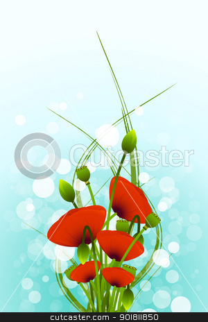 Flower background stock vector clipart, Abstract Background with red poppy flowers and bokeh by Vadym Nechyporenko