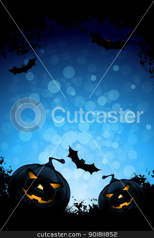 Grunge Background for Halloween Party stock vector clipart, Grunge Background for Halloween Party with Pumpkins and Bats by Vadym Nechyporenko