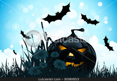 Halloween Background with Flowers and Pumpkin stock vector clipart, Halloween Background with Flowers Bats and Pumpkin by Vadym Nechyporenko
