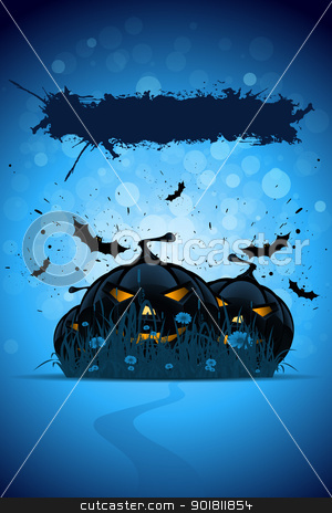 Grunge Halloween Party Template stock vector clipart, Abstract blue Grunge Halloween Party Template with Pumpkins Grass and Bats by Vadym Nechyporenko