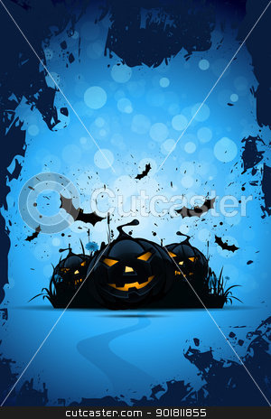 Grunge Halloween Party Background stock vector clipart, Grunge Halloween Party Background with Pampkins Grass and Bats by Vadym Nechyporenko