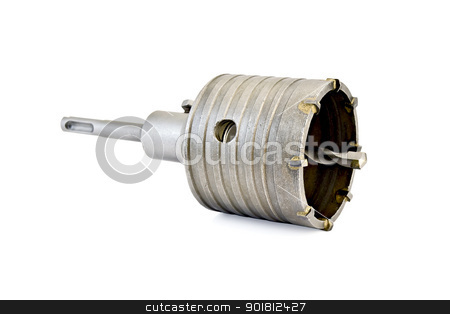 Bore bit assembled stock photo, Socket wrench the bore bit assembled isolated on white background by rezkrr