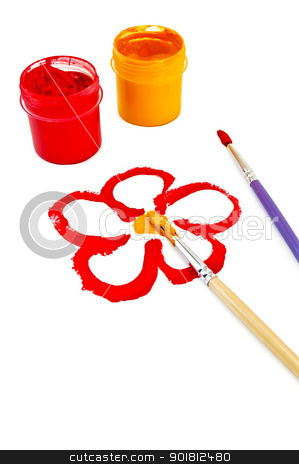 Painted in gouache flower stock photo, Flower, painted red and yellow paint, two brushes and two cans of red and yellow gouache isolated on white background by rezkrr