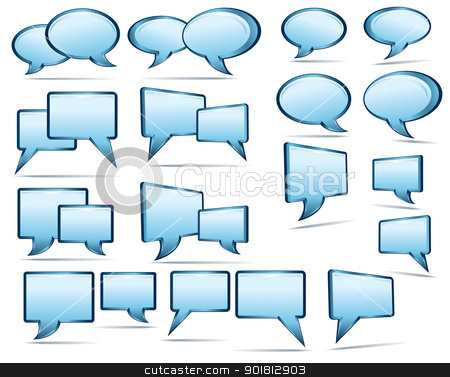 Silver blue and glass 3D and 2D speech bubbles stock vector clipart, Silver blue and glass 3D and 2D speech bubbles by Fenton