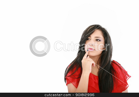 Portrait of a beautiful young woman thinking, isolated on white  stock photo, Portrait of a beautiful young woman thinking, isolated on white background by dacasdo