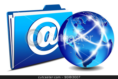 email Folder and communication World, Internet, network concept stock vector clipart, Communication Globe and folder. All elements are on individual layers in the vector file for easy use. Internet, network concept.  by Fenton