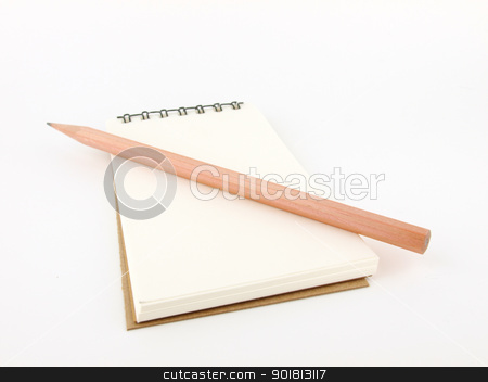 pencil with notebook  stock photo, Isolated pencil with notebook on white   by jakgree