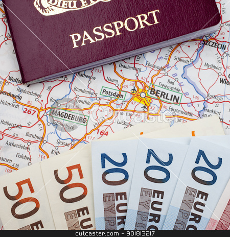 Passport, Euros and Berlin Map stock photo, Passport, Euros and Berlin Map. by Chris Dorney
