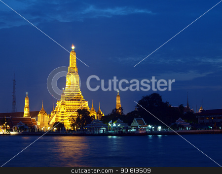 Wat Arun the Old Temple at twilight stock photo, Wat Arun the Old Temple at twilight in Bangkok, Thailand by jakgree