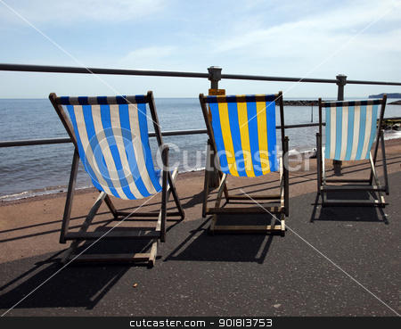 Deckchairs stock photo, Deckchairs on the seafront by Ollie Taylor
