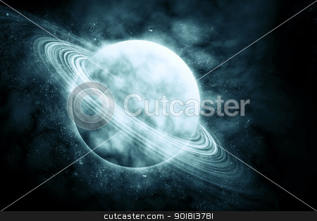 Green planet in beautiful space stock photo, Green planet in beautiful space by jakgree