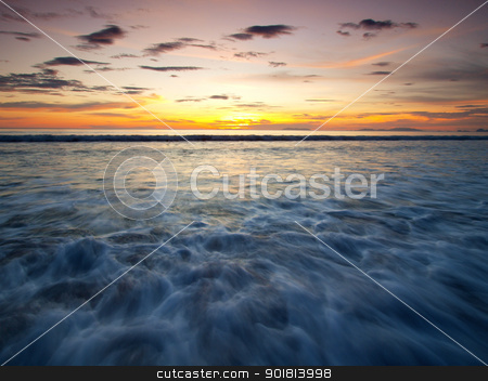 Landscape of sea  stock photo, Landscape of sea with dramatic wave in sunset. by jakgree